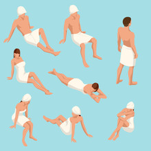 Isometric Set Of People In Different Poses For Sauna Design Isolated On A Light Background. People Enjoying Hot Steam Procedures