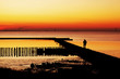 canvas print picture - Sonnenuntergang an der Nordsee bei Bremerhaven