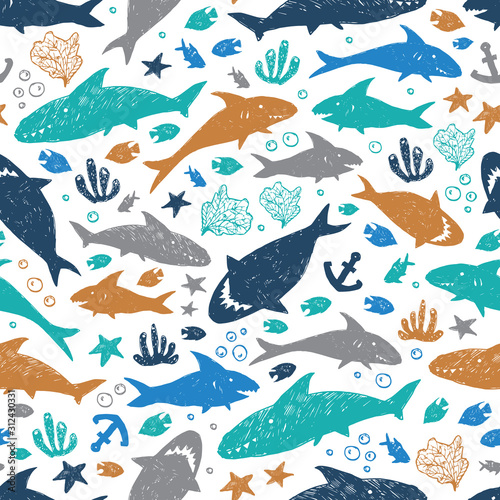 Obraz na plátně Vector white colourful cute shark pen sketch repeat pattern