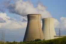 Nuclear Power Plant On Background Of Blue Sky