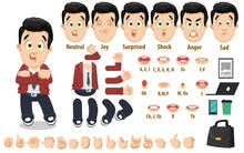 Cartoon Young Businessman Constructor For Animation. Parts Of Body, Set Of Poses, Objects.