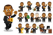Big Vector Cartoon Set With Afro-american Businessman In Different Situations.