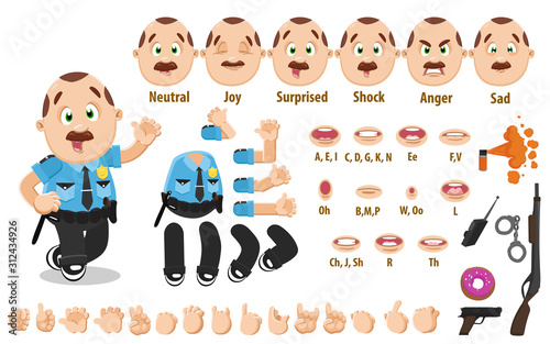 Fotografia, Obraz Cartoon mustached policeman constructor for animation