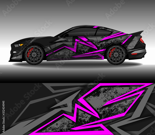 Wrap car decal design vector, custom livery race rally car vehicle sticker and tinting Tableau sur Toile