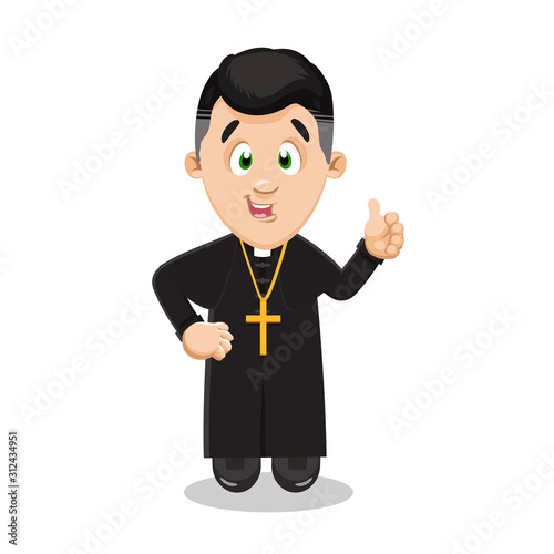 Catholic priest in black cassock with pectoral cross on breast showing thumb up Canvas Print