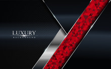 Luxury Dark Background With Red Mosaic And Silver Lines Design. Modern Abstract Background