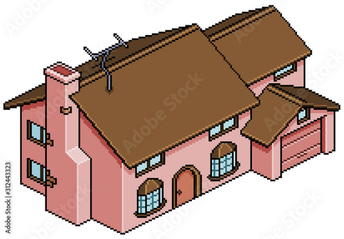 Photo  Pixel art house of the simpsons isometric 8 bit 16 bit