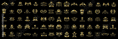 Royal Logo Set - Isolated On Black Background - Vector Illustration, Graphic Design Poster Mural XXL