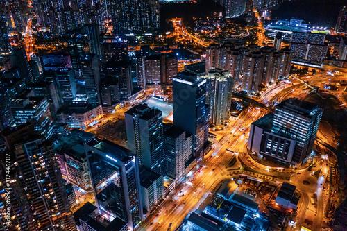 Fotografia cyperpunk cityscape of urban area, Hong Kong