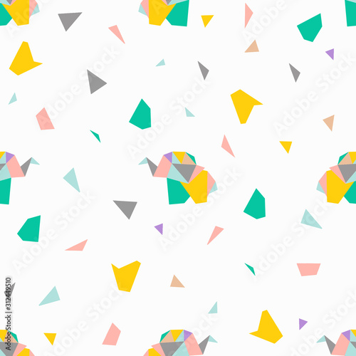 Seamess vector pattern with color origami elephants and geometric elements. Children's pattern. Background of cute elephants.