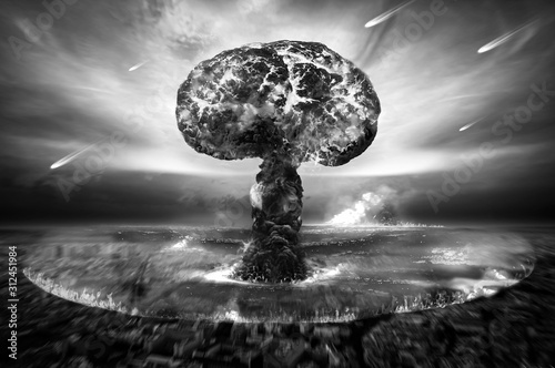 Cuadros en Lienzo  Nuclear Atomic War Black and White Photography