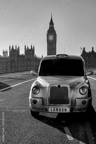 Photo London Taxi Cab Black and White Photography