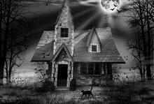 Haunted House Black And White ...