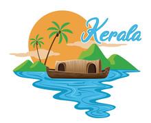 Indian Kerala Houseboat Vector