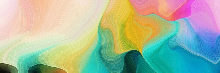 horizontal colorful abstract wave background with light sea green, pastel gray and golden rod colors. can be used as texture, background or wallpaper
