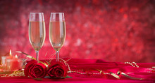 Champagne Glass And Roses On V...