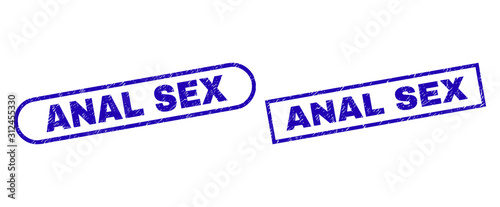 Photo Blue rectangle and rounded ANAL SEX watermark