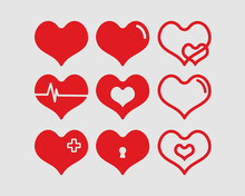 Red Hearts Vector Illustration...
