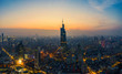 Aerial View of Urban Nanjing City at Sunset in China