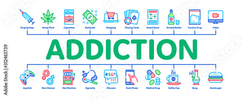 Addiction Bad Habits Minimal Infographic Web Banner Vector Wallpaper Mural