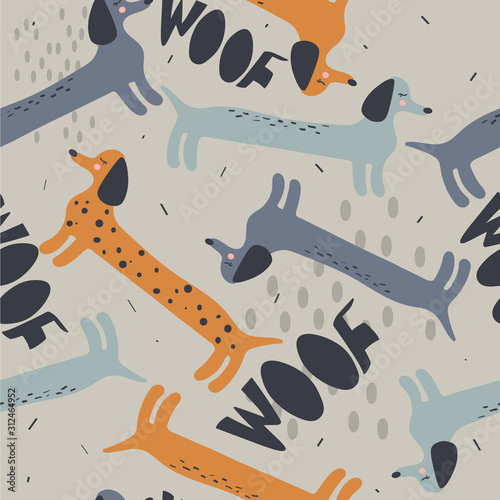 obraz lub plakat Happy dogs, hand drawn backdrop. Colorful seamless pattern with animals. Decorative cute wallpaper, good for printing. Overlapping background vector. Design illustration, dachshunds