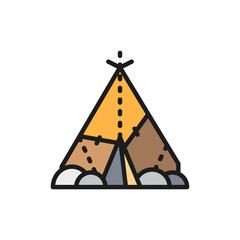 Indian wigwam, prehistoric house, primitive home flat color line icon.
