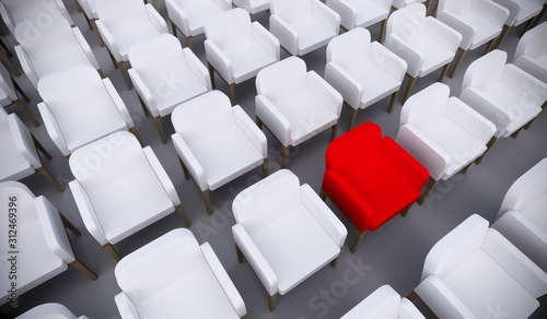 Obraz Concept or conceptual red armchair standing out in a  conference room as a metaphor for leadership, vision and strategy. A  3d illustration of individuality, creativity and achievement - fototapety do salonu