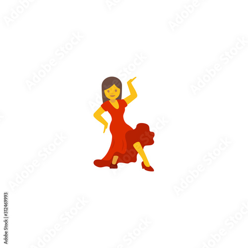 Photo Woman Dancing Vector Flat Icon. Dancing woman emoji - Vector
