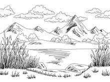 Mountain Lake Graphic Black White Landscape Sketch Illustration Vector