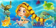 Cartoon Ocean And The Mermaid In Underwater Kingdom Swimming With Fishes And Having Fun - Illustration For Children