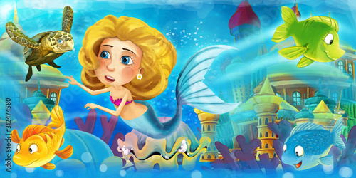 Cartoon ocean and the mermaid in underwater kingdom swimming with fishes and hav Canvas Print