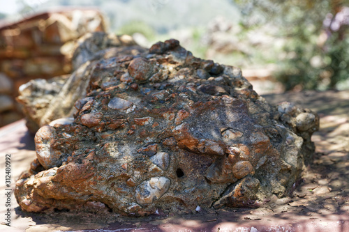 Alluvial conglomerate, formed by rounded pebbles and ground cementation Slika na platnu