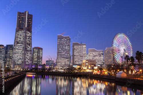 Stampa su Tela 横浜の夜景 みなとみらい21