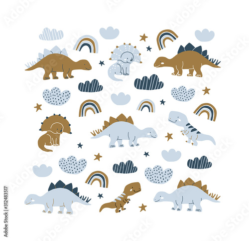 Photo handdrawn dinosaur scandinavian style illustration