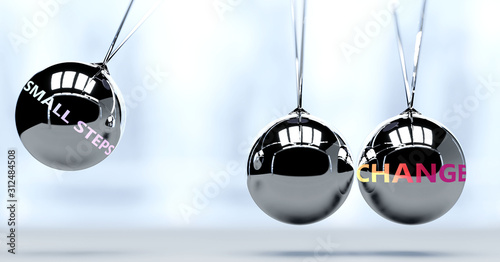Fototapeta Small steps and New Year's change - pictured as word Small steps and a Newton cradle, to symbolize that Small steps can change life for better, 3d illustration obraz
