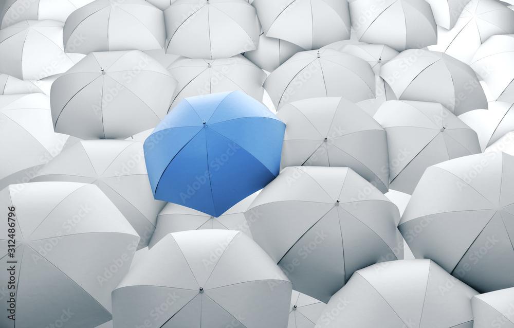 Fototapeta Blue umbrella in mass of white umbrellas.
