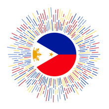 Philippines Sign. Country Flag With Colorful Rays. Radiant Sunburst With Philippines Flag. Vector Illustration.