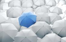 Blue Umbrella In Mass Of White...