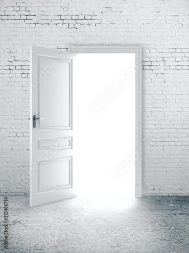 Open door in white brick wall Wallpaper Mural