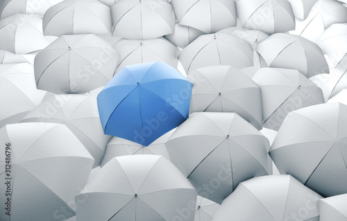 Obraz Blue umbrella in mass of white umbrellas. - fototapety do salonu