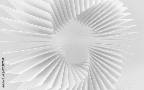 abstract white squares forming a ring swirl structure spiral illustration 3d render illustration