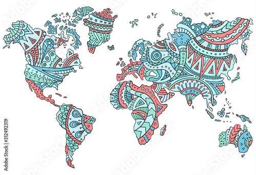 Fototapeta mapa świata   hand-drawn-doodle-world-map-with-patterns-and-ornaments-in-tribal-style-outline-template-for