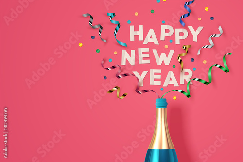 Fotografía  New Year Greeting card. Vector Illustration