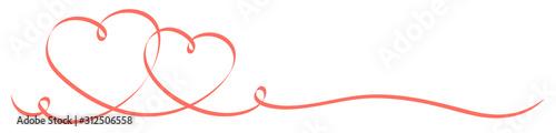 Fotografie, Tablou  Zwei Verbundene Herzen Kalligrafie Banner Helles Rot