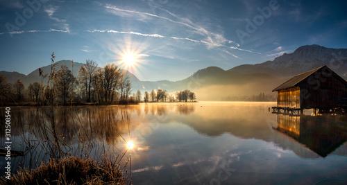 Fototapeta Idyllic Morning Sun view to the Bavarian Kochelsee  obraz