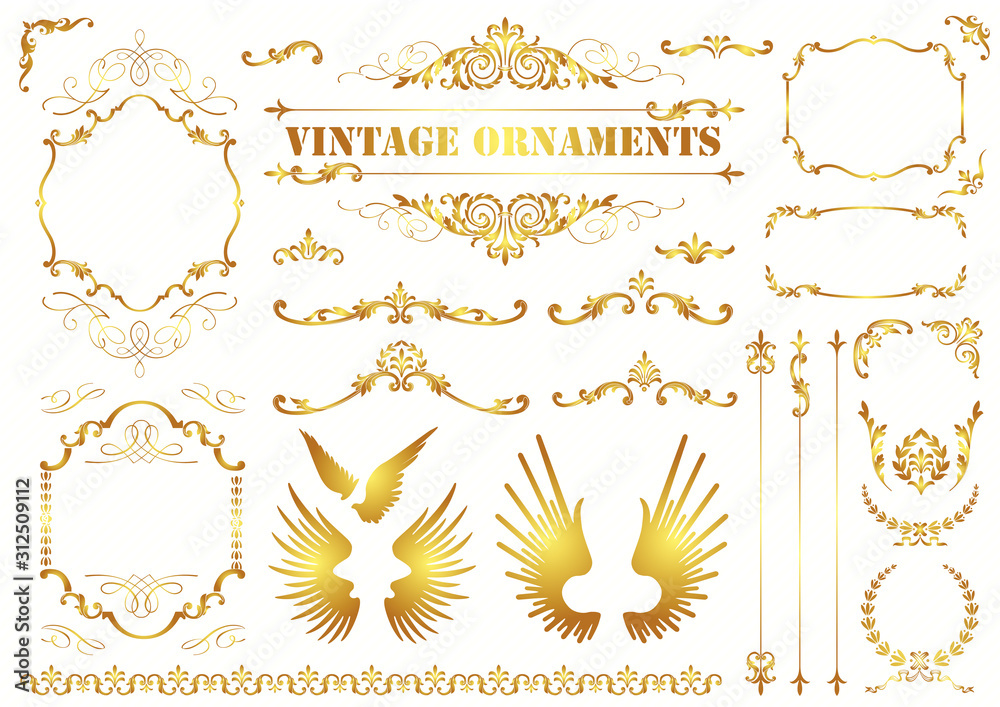Fototapeta Vintage vector Set. Floral elements for design of monograms, invitations, frames, menus, labels and websites. Graphic elements for design of catalogs and brochures of cafes, boutiques