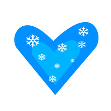 Blue Heart With A Pattern Of White Snowflakes