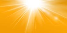 Rays Yellow Background. Gold Sunny Sky. Heat Sunburs, Hot Weather. Sunshine Orange Sky. White Warm Sunlight. Bright Golden Solar Sunrise, Summer Template. Lens Optic Effect. Vector Illustration