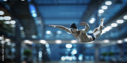 Obraz Swimmer at competition. Mixed media - fototapety do salonu