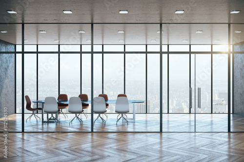 Obraz Modern meeting room interior with city view - fototapety do salonu